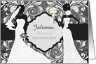 Bridesmaid Invitation - Two Brides - Charcoal with White Elegance card