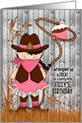 Girl's Birthday - Western Cowgirl Theme in Pink and Brown card