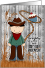 Boy's Birthday - Western Cowboy Theme in Blue and Brown card