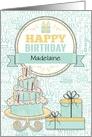 Birthday - Custom Name - Mint Green and Yellow card