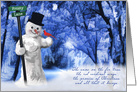 Snowman and Red Cardinal - Christmas on Frosty Lane card