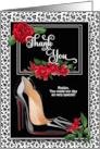 Custom Bridal Thank You - Silver Cheetah Print with Red card