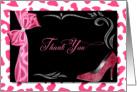Bridal Thank You - Pink and White Cheetah Print card