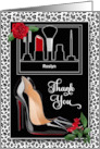 Wedding Make Up Artist Thank You - Silver Cheetah Print with Red card