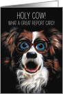 Good Grades Congratulations with Funny Border Collie in Glasses card
