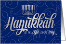Hanukkah with Menorah in Blue and Silver Swirls card