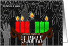 Kwanzaa Day 4 Ujamaa Cooperative Econimcs with Kinara Candles card