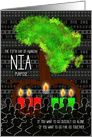 Kwanzaa Day 5 Nia Purpose with Africa Tree Shape and Roots card