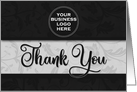 Business Thank You Round LOGO in Classic Black Damask card