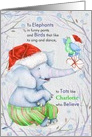 for Tots on Christmas - Watercolor Elephant and Bird card