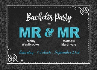 Bachelor Party Invitation Mr and Mr Black Damask Custom Names Greeting Card