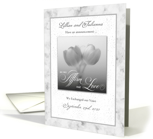 Custom Civil Union Announcement Silver Tulips
