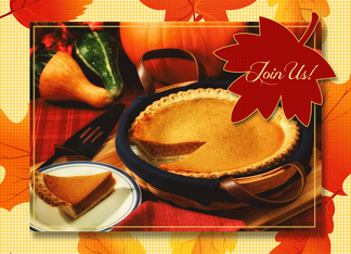 Pumpkin Pie and Autumn Leaves Thanksgiving Invite Greeting Card