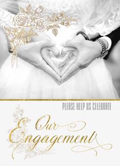 Engagement Party Invitation Formal Faux Gold Leaf Greeting Card