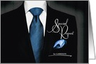 Groomsman Wedding Attendant Special Request in Black and Blue card