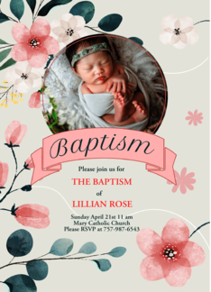 Pink Baptism Invitation for Baby Girl Custom Photo Greeting Card