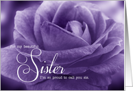 For Sister From Sister on Mother's Day Beautiful Lavender Rose card