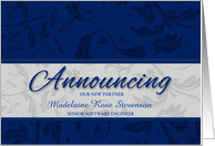 Custom Business Announcement for New Partner in Blue card