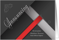 Custom Business Announcement for New Partner in Red and Black card