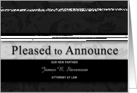 Custom Business Announcement for New Partner in Black Damask card