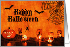 Happy Halloween Bats, Spiders & Pumpkin card