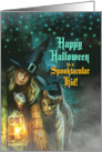 for Kids Halloween Purple and Orange Spiders & Bats card