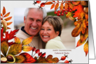 Custom Thanksgiving Photo Card in Taupe, Greens and Gold Hues card