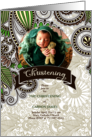 Green and Brown Christening Invitation Photo Card