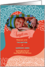 Blue and Brown Polka Dot Baptism Invitation Photo Card