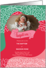 Pink and Brown Polka Dot Baptism Invitation Photo Card