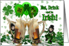 Happy St. Patrick's Day Leprechauns, Beer & Clovers! card