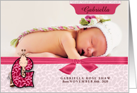New Baby Announcement Photo Card - Monogram G Pink Giraffe card
