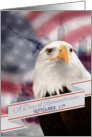 9/11 Remembrance, Eagle and American Flag Patriot Day card