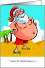 Santa on the Beach for Christmas Global Warming card