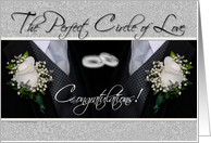 Congratulations Gay Couple on Your Civil Union with Rings Tuxes card