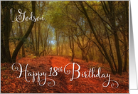 Godson Happy 18th Birthday Path in the Woods card