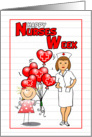 Happy Nurses Week with Balloons and Little Girl card