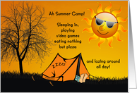 Thinking of You Away at Summer Camp for Kids card