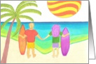 Couple w/surfboards holding hands at the beach! card