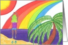 Girl Jumping w/Joy, rainbow at the beach! card