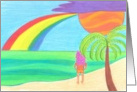 Lonely girl on beach facing a rainbow and the ocean card