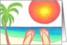 Girl&rsquo;s flip flops on beach-great vacation card