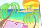 Boy, island, beach card