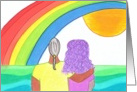 Couple, rainbow, beach card