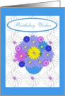 Fr. Couple, Birthday Wishes, Gerber Daisies and Pretty Pansies card