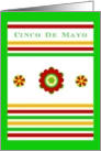 Happy 1st Cinco de Mayo! Mexican Floral and Stripe Design card