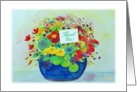 Thank You! Birthday Gift, Big Blue Pot Full of Flowers card