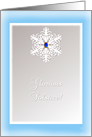 Glorious Winter Solstice! Snowflake with Sapphire Blue Gem card