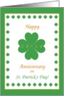 Happy Anniversary on St. Patrick's Day, 2014, Heart Shaped Clover card