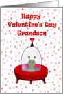 Happy Valentine's Day Grandson, Alien in Space Ship card